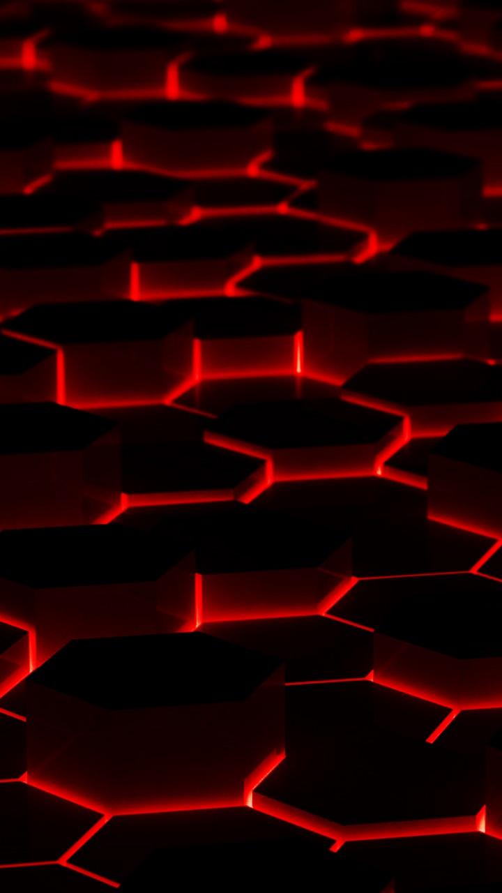 Black Red Hexagon Wallpapers Vip